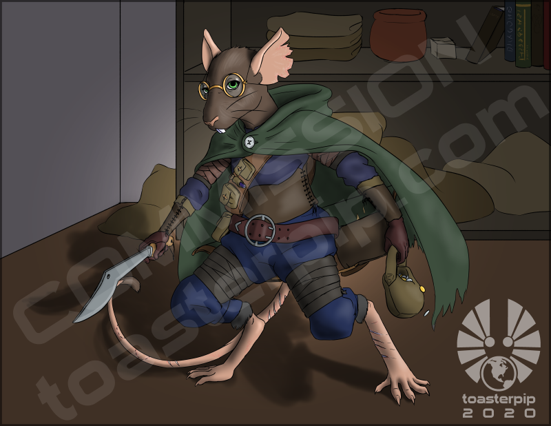 toasterpip pathfinder ratfolk rogue mouse anthro kukri thief cloak