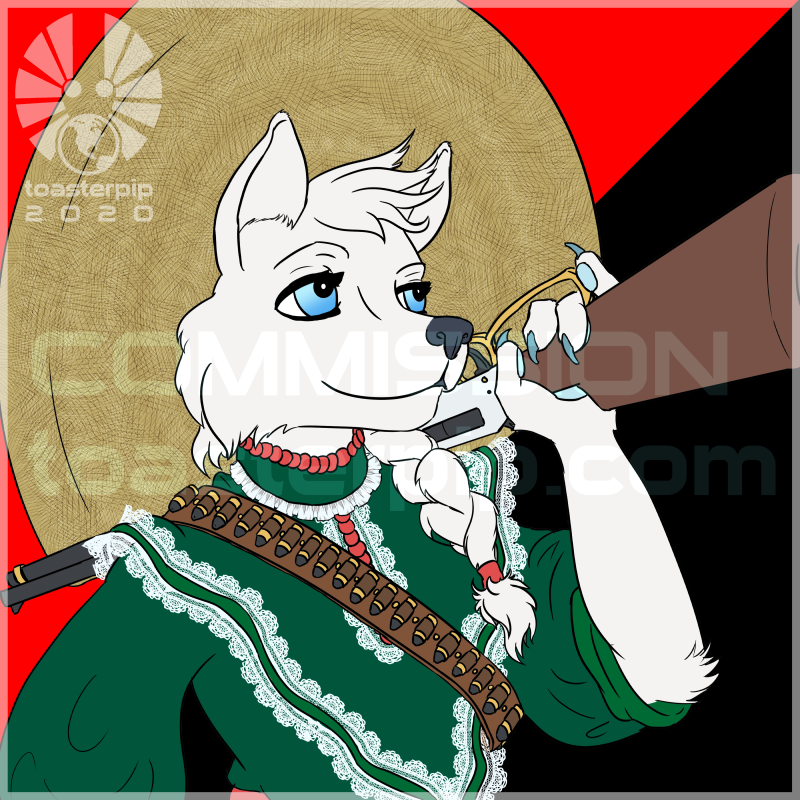 toasterpip commission icon bust fox arctic_fox adelita green dress