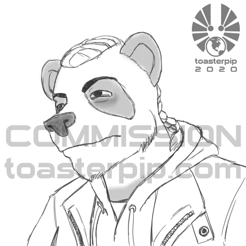toasterpip commission sketch anthro panda tired grumpy