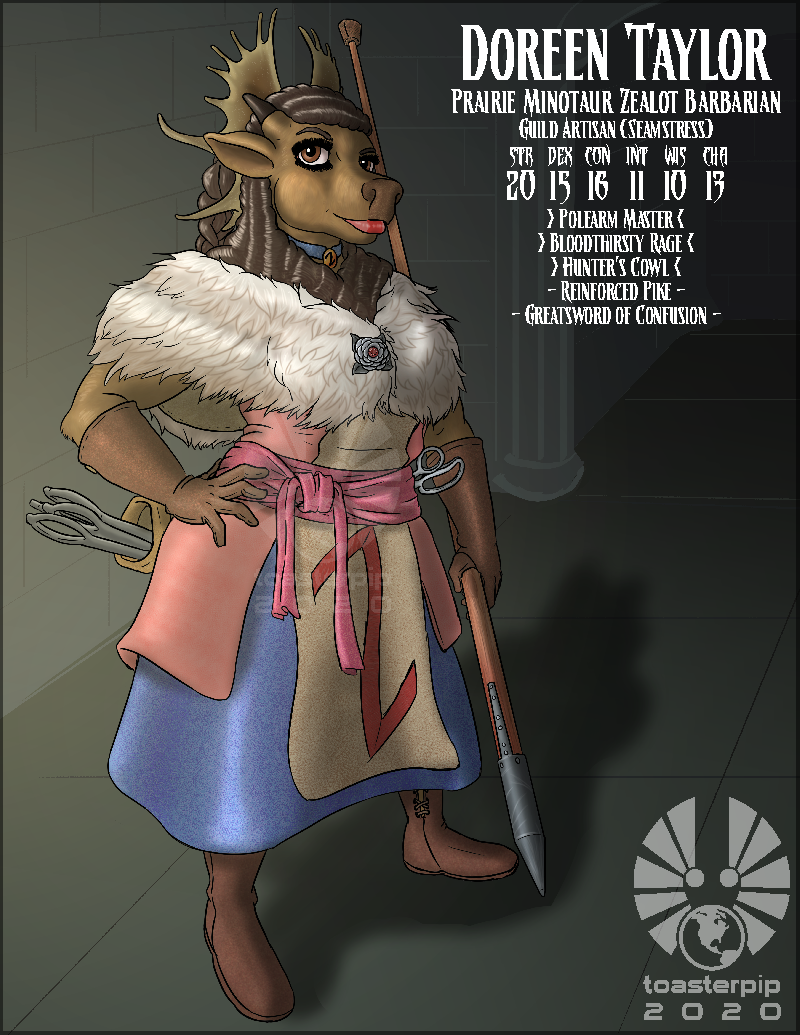 toasterpip dnd d&d minotaur barbarian bison curvy dress curly_hair pike javelin