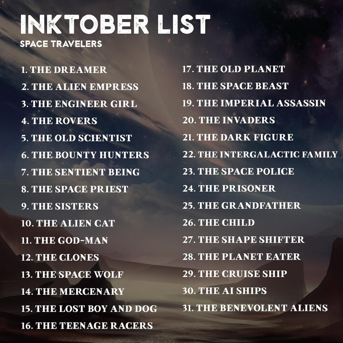 inktober inktober2017 theme_list space_travellers