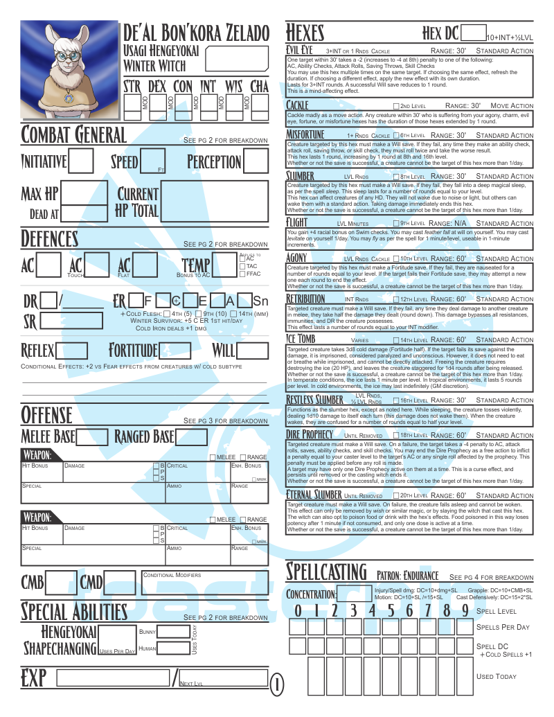 Pathfinder custom character sheet De'Al Zelado pathfinder_rpg winter witch cute bunny
